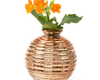 Table decorations set of 3 warm gold cute honey pot style bud vases, Gold decor set for party table, Bridal shower, Wedding Anniversary,