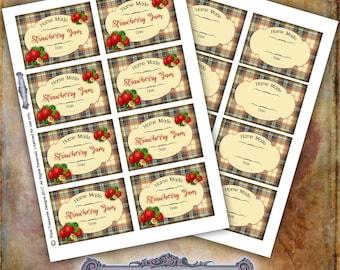 Strawberry Jam Labels, Blank Labels, Digital Label Sheets