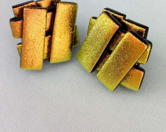 Yellow - Gold Dichroic Glass Stud Earrings - Silver