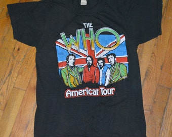 THE WHO vintage ROCK concert tour tshirt clothing 1982 Pete Townshend old vintage clothing unique gift music lover vintage shirts