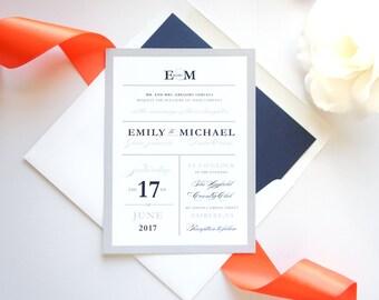 Modern Wedding Invitation Kit  Coral And Gray Invitations, Modern Wedding  Invitations, Navy Wedding