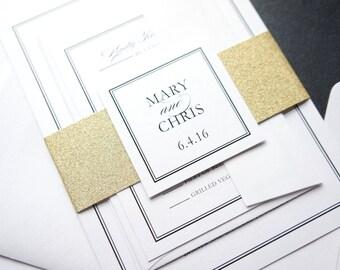 Glitter Invitations, Gold Glitter Wedding Invite, Luxury Wedding Invitations, Custom Printed Wedding Invitations - Deposit