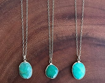 Chrysoprase Necklace // Chrysoprase Gold Necklace // Chrysoprase