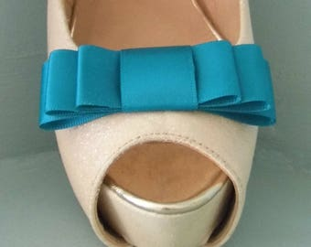 Handmade Teal Triple Bow Shoe Clips - other colours on request