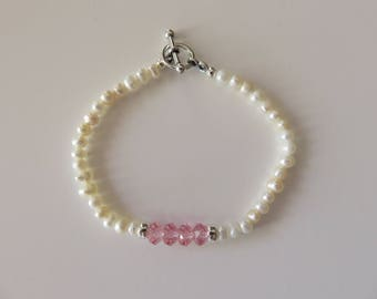 Mini Pearls & Pink Bracelet