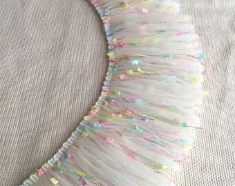 """2 yards Lace Trim Tassels Colorful Ruffled Baby Dress Wedding Trim 3.93"""" width"""