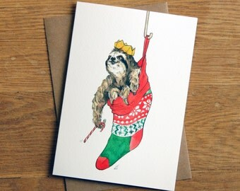 Hand drawn Christmas Card: Sloth in a Sock