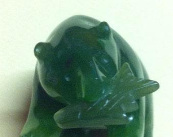 Vintage 1960's Hand Carved Deep Green Jade Fishing Bear