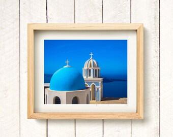Santorini Blue, Greek Islands - Travel Photography Europe Wall Art Print (Unframed)