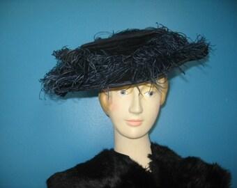 Edwardian Navy Blue Silk Velvet Widebrim Hat with Ostrich Feathers!