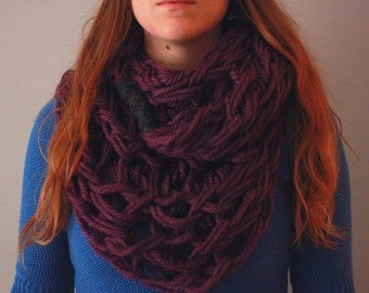 Large Arm Knit Scarf - Purple and Grey