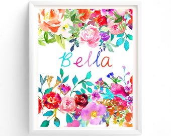 Nursery Art Pink Floral Custom name, Monogram, Nursery Printable, Floral calligraphy 8 x 10 print art, girls