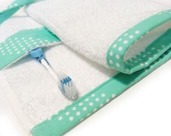 Toiletry Travel Roll - White Terry Cloth with Dotted Mint Green Print