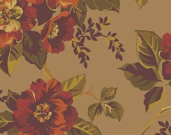 Ginger Rose Fabric - Roses on Brown Fabric