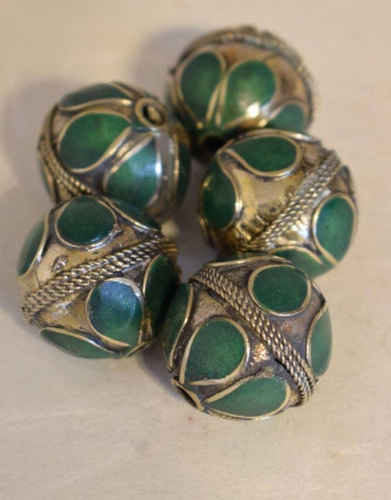 Beads Middle Eastern Green Stone Round  Brass Round Beads Handmade Handcrafted 5 Lot Green Beads Brass Crafts Jewelry Beads
