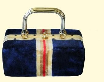 RESERVED! 1960 Swinging London Blue Velvet Purse Vintage MOD style box hand bag.