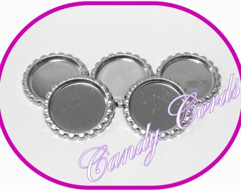 6 x 1 Inch Bottle Cap Trays Cameo Setting Cabochon Tray Chrome Jewellery Making Hairbow Settings Bow Centres Decoden Letter & Frame Art