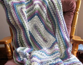 Granny Rectangle, crochet throw, Afghan, crochet blanket, Spring colors, Crochet throw blanket