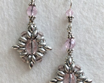 Soft Pink And Silver Antique and Vintage Inspired Seed Beeded Earrings