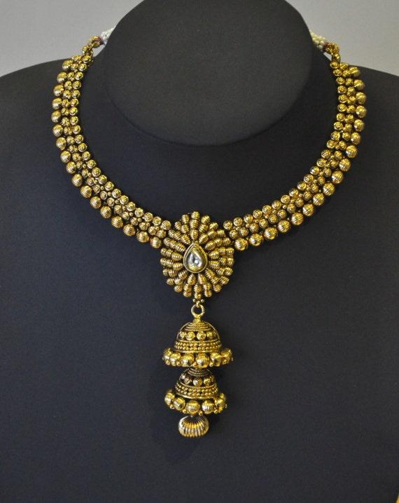 Antique gold design Indian necklace in jhumki design  | Indian Jewellery | Indian Necklace | Temple Jewelry