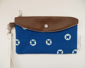 The Jacy Wristlet • AG Indigo Blue with Faux Leather