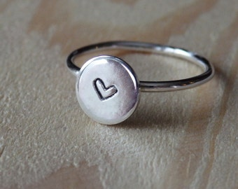 Small Sterling Silver Handstamped Heart Stacking Ring Artisan Jewellery