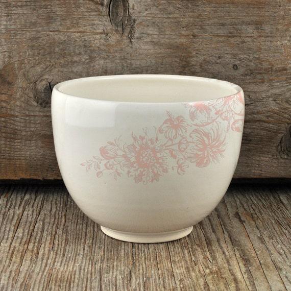 Porcelain coffee bowl with vintage pink flower illustration