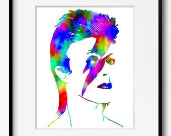 David Bowie Watercolor Art Print (P2001) Aladdin Sane, Ziggy Stardust, Abstract, Wall Art, Home Decor