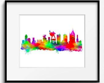 Metropolis Skyline Watercolor Art Print (S042)  Cityscape, Superman,Clark Kent, Art Print, Abstract,Kids Home Decor, Nursery,Lexcorp, Luthor