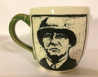 General Patton Mug, Stoneware Sgraffito Portrait Mug, Ready to Ship