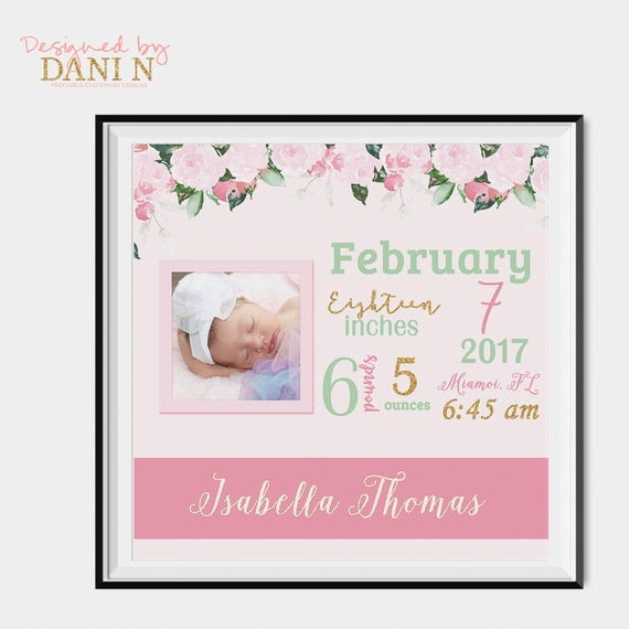 Floral pink stats print nursery decor birthday announcement baby il570xn negle Gallery