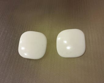 Vintage Large Mod Square Clip on Earrings Pair White Square Earrings