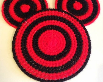 Set of 4 Mickey Mouse Canvas Yarn Coasters Set of 4
