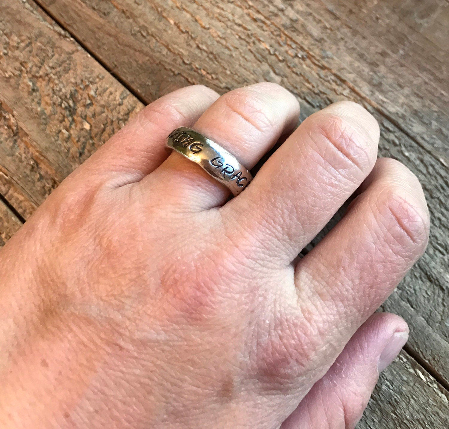 Band ring Amazing grace stamped ring anniversary bride