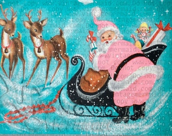 PINK VINTAGE CARD Pink Santa With Sleigh and Deer Fabric Panel pcs21.