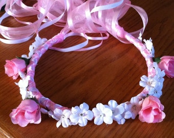 Flower Girl Crown - Rosebud & Gypso Bridal Bridesmaid Flower Head Wreath Floral Ribbon Halo Head Piece Blue Pink Navy Garland C-Margaret