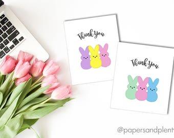 "DIGITAL FILE - Easter ""Peeps"" Thank You Cards | Thank You Cards for Kids | Holiday Thank You Cards"