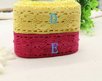 5 Yards Red Yellow Lace Trim Cotton Material Cotton Lace Trim Ribbon