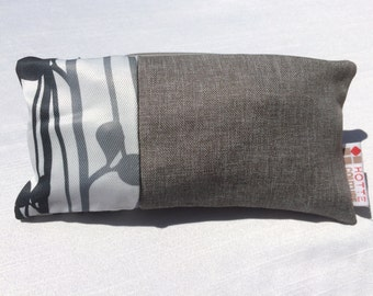 Pouch for makeup, pencil case, toiletries accessoiries, pouch for baby, travel pouch, Fabric Broussailles Black and White and Basic Charcoal