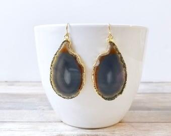 Natural Agate Slice Earrings - Natural Stone Earth Tone Agate - Geode Slice - Agate Jewelry - Boho Jewelry Summer
