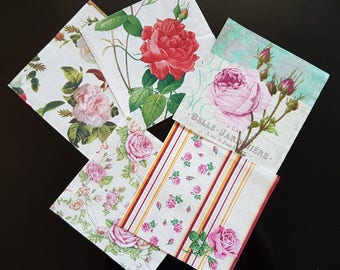Set of 5 paper decoupage napkins. Set of 5 mixed roses patterns napkins