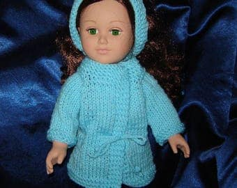 "18 Inch Doll Coat and Headband in Turquoise - American Made - Girl Doll Clothes - Knit Doll Clothes - For 18"" Doll"