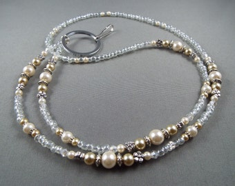 """Beaded breakaway ID lanyard 32"""" to 42"""" with magnetic clasp .toggle or no opening,white and beige glass pearl Name tag holder lanyard cute"""