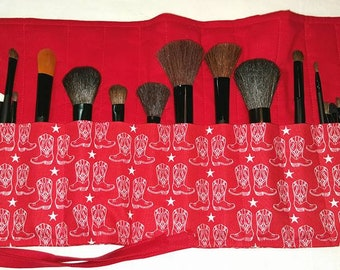 Make Up Brush Holder-Cosmetic Holder-Cowboy Boots-Stars-Barn Stars-Cosmetics Bag-Make Up Brushes-Red-White-Country-Cowgirl