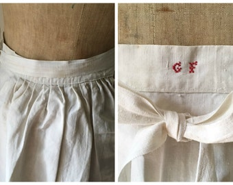 1800s antique French handmade glazed white linen workwear cooks apron, monogram GF, country chic, rustic vintage, kitchen, costume