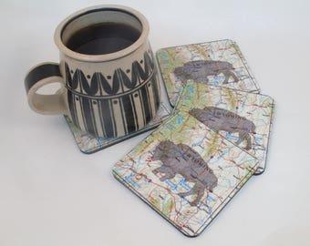 Wyoming Map, Buffalo,Bison, 4 piece coaster set