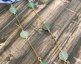Dainty Green Aventurine Gold Plated Rolo Chain Necklace, Healing Stones, Minimalist Jewelry, Gifts for Her