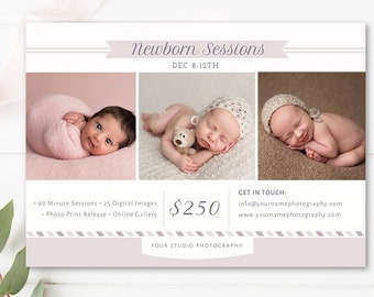 Newborn Marketing Board, Newborn Photographer Mini Session Template, Photoshop Marketing Templates - INSTANT DOWNLOAD!