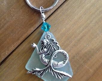 Mermaid Siren Beach Glass Key Chain Key Ring