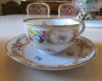 GERMANY SCHUMANN EMPRESS Dresden Flowers Teacup and Saucer